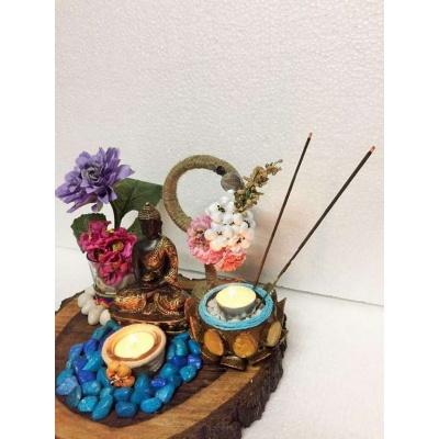 Buddha Wood Log Tea Light  lord buddha gautam budha hand made festive tea lights for diwali hitchki dot in 0001