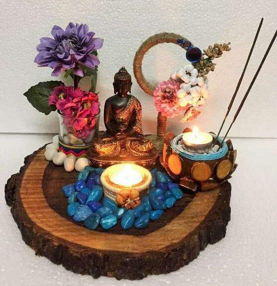 lord buddha gautam budha hand made festive tea lights for diwali hitchki dot in 0002