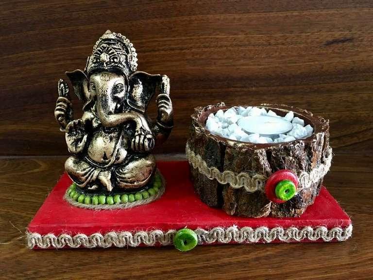lord ganesha hand made festive tea lights for diwali hitchki dot in 0006
