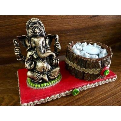 Red base Ganesha Tea Light lord ganesha hand made festive tea lights for diwali hitchki dot in 0008