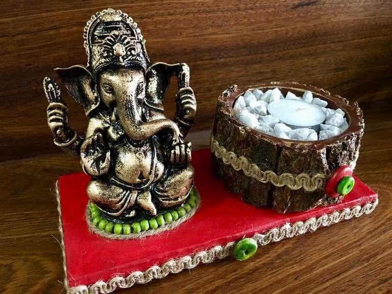 lord ganesha hand made festive tea lights for diwali hitchki dot in 0008