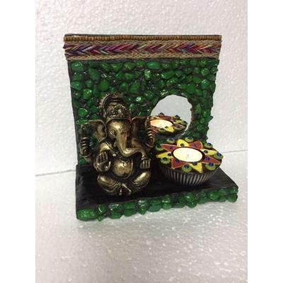 Green Stones Ganesha Tea Light  lord ganesha hand made festive tea lights for diwali hitchki dot in 0012