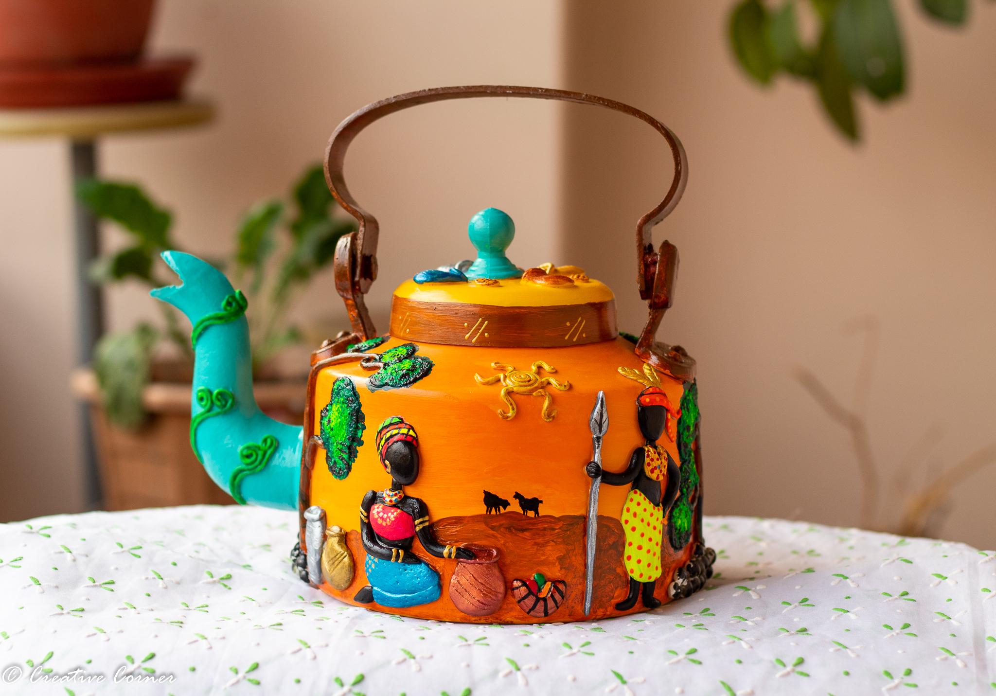 African Art Themed Kettle