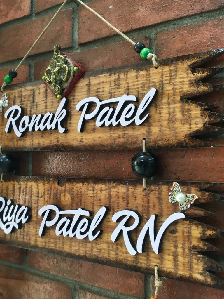 Personalized Nameplates House Name Plates Decorated Plywood NamePlate with Lord Ganesha