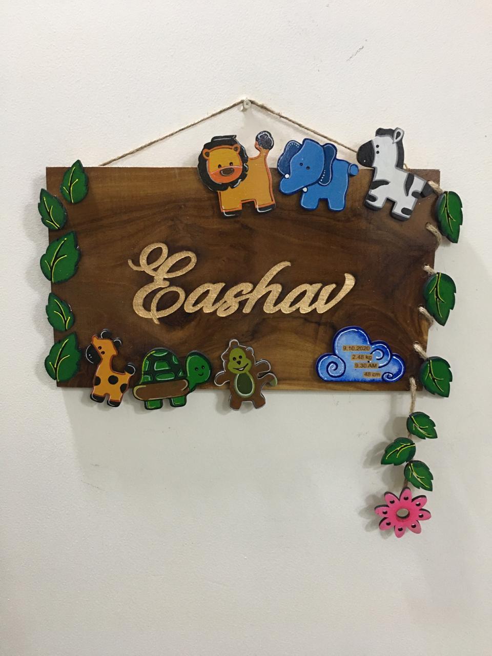 Eashav kids birth capture wooden nameplate