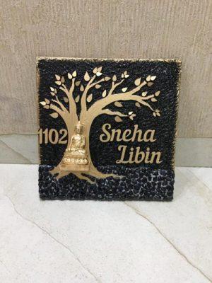 Libin golden tree wooden nameplate