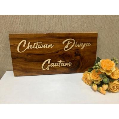 Teak wood nameplate 2