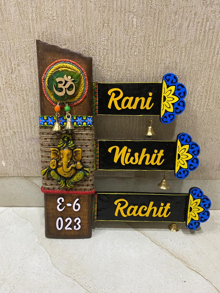 unique wooden nameplate design