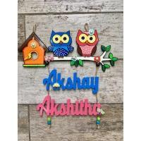 Kids Twin Owl Nameplate