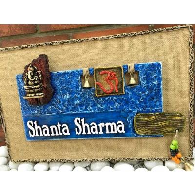 Om and Ganesha Wooden Name Plate  buy nameplates online 002