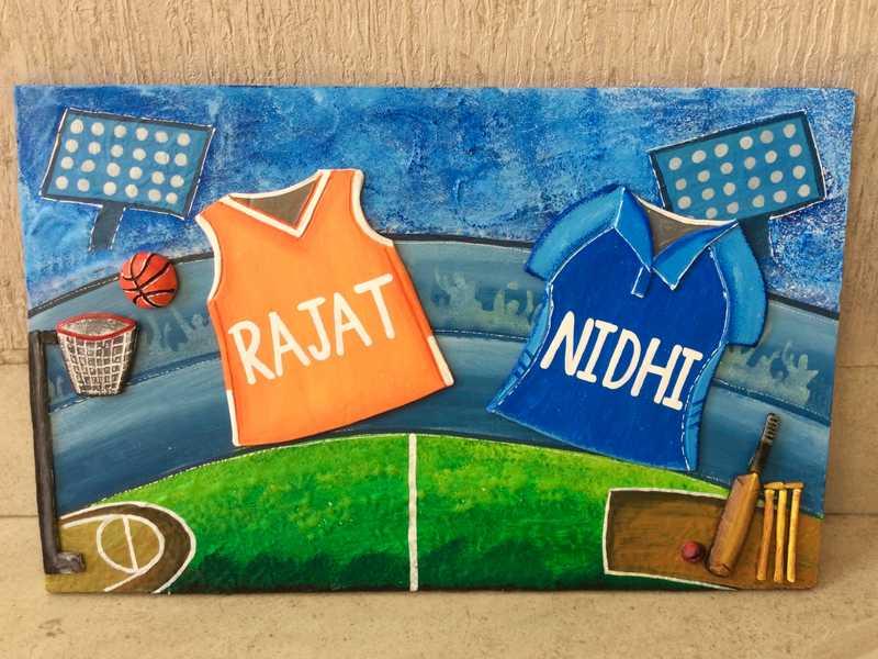 cricket basket ball house nameplate bangalore mumbai delhi 001