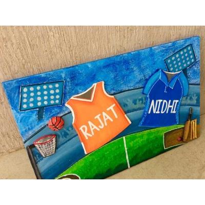 Sports Jersey Nameplate for Kids  cricket basket ball house nameplate bangalore mumbai delhi