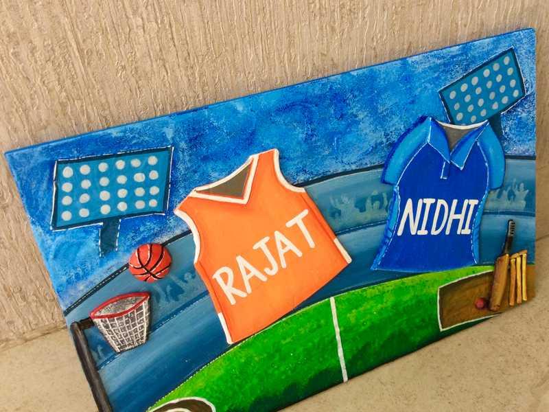 cricket basket ball house nameplate bangalore mumbai delhi