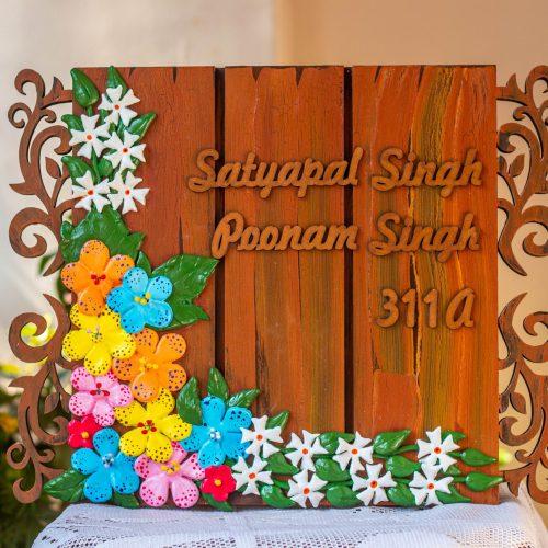 Hitchki Artwork Creative Corner floral nameplate