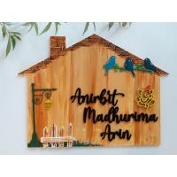 handmade wooden nameplate