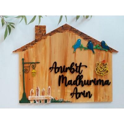 Wooden Handmade Hut Shape Nameplate  handmade wooden nameplate
