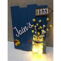 jain 3 glow vase jugnu wooden name plate