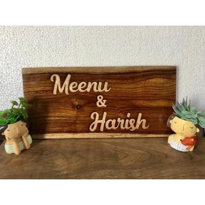 Customized Rose Wood Engraved Nameplate  menu engraved nameplate