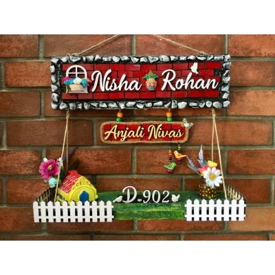 Dream House twin Nameplate  nisha rohan dream house wooden nameplate