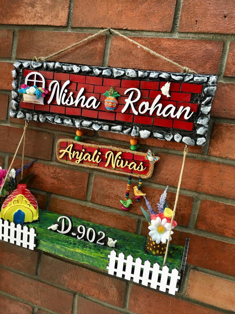 nisha rohan3 dream house wooden nameplate