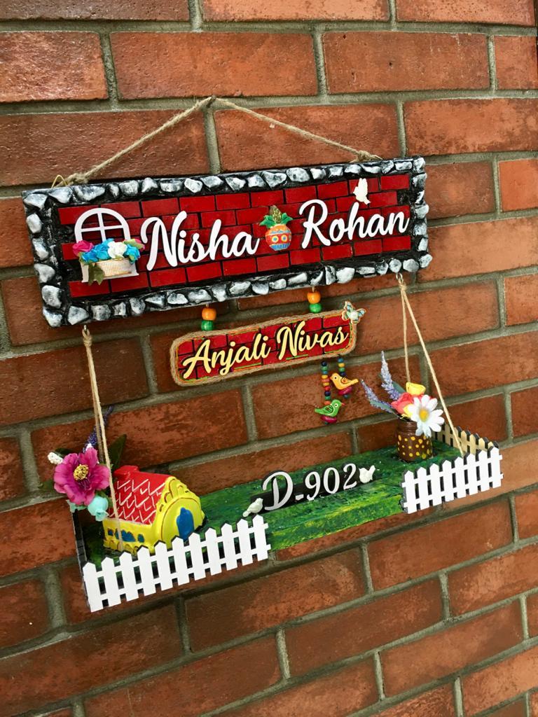 nisha rohan4 dream house wooden nameplate