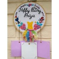 Hand Embroidered Keyring  Wall Clocks Online in India Hitchki pink umbrella hitchki creative handmade gifts 07 0002