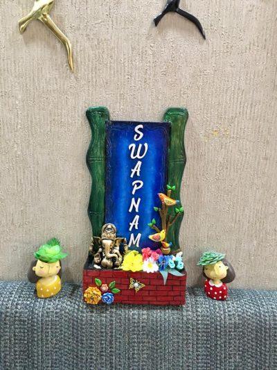 swapnam 5 bamboo wooden nameplate